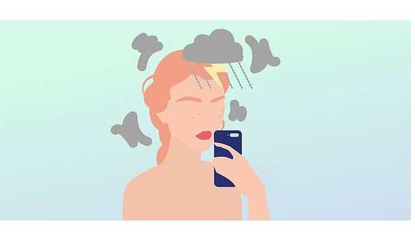 Illustration of Lawyer looking at phone with storm clouds hovering over her head demonstrating burnout
