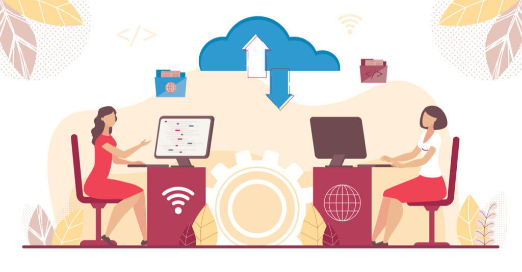 Illustration of a remote access data transfer showing two women working in different locations with a cloud between them