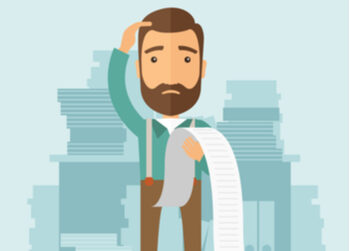 Illustrated man with receipt scratching his head trying to work out employee reimbursement entitlements