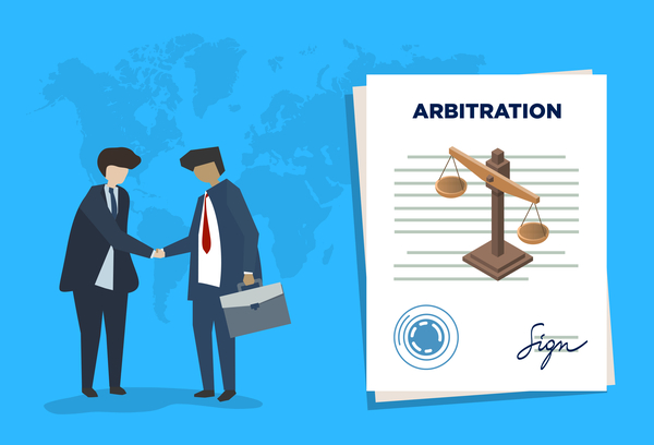 Illustration of two lawyers in suits shaking hands and arbitration clauses contract with scales of justice on it.