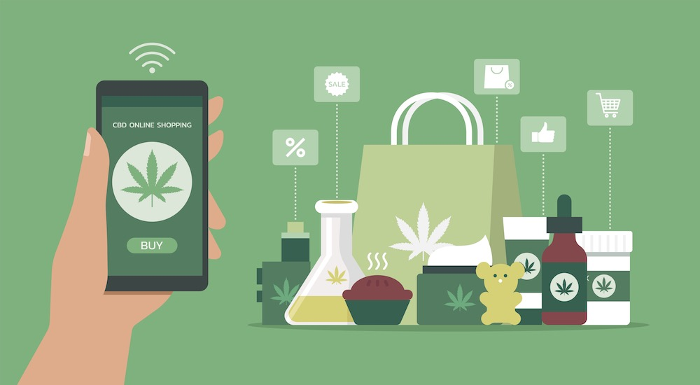 Illustration of consumer purchasing cannabis products on a smartphone