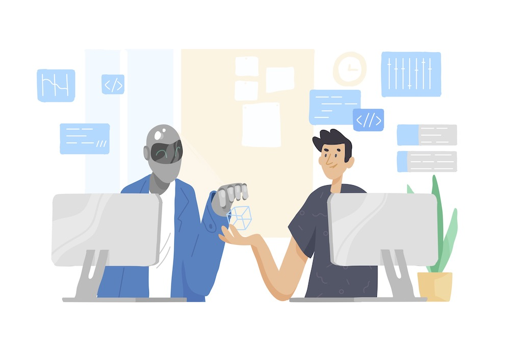 Illustration of a robot in a suit at a computer passing AI in the workplace knowledge to a male worker who is also at a computer