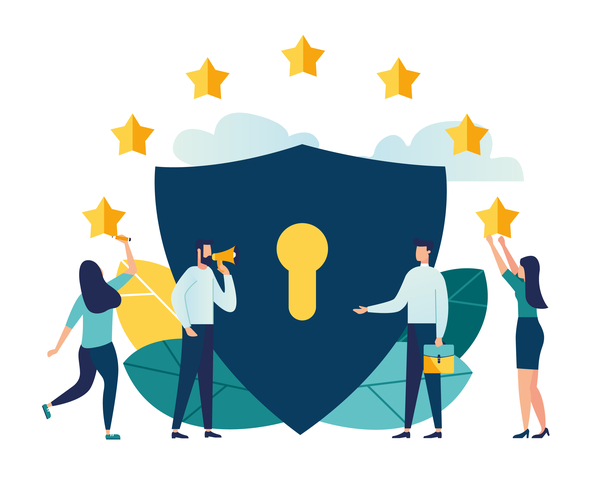 Illustration of European data privacy laws with EU flag stars floating above a lock with businesspeople shaking hands in front and people hanging the stars either side of the visual