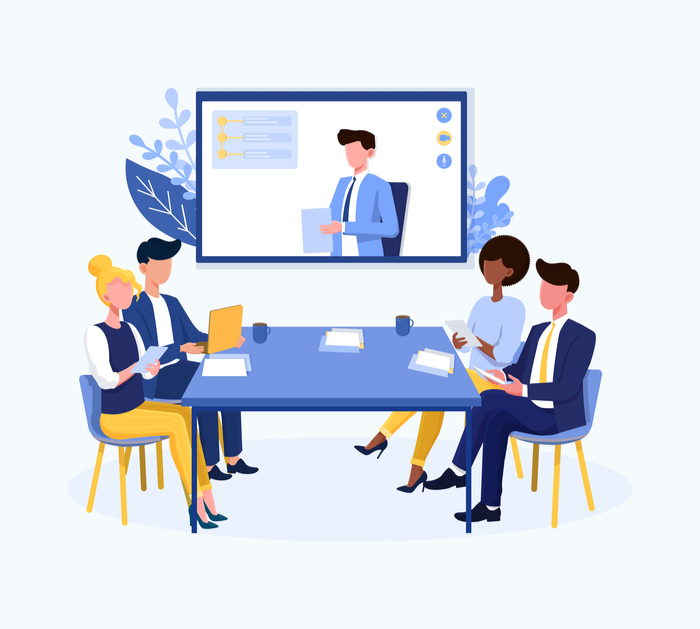 Illustration of a hybrid board meeting, with some members attending in person sitting at a table and the chair attending via video link