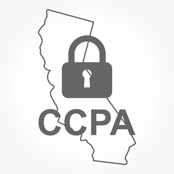 An outline of the state of California on a white background with an illustrated padlock and CCPA in the foreground to demonstrate California privacy laws.