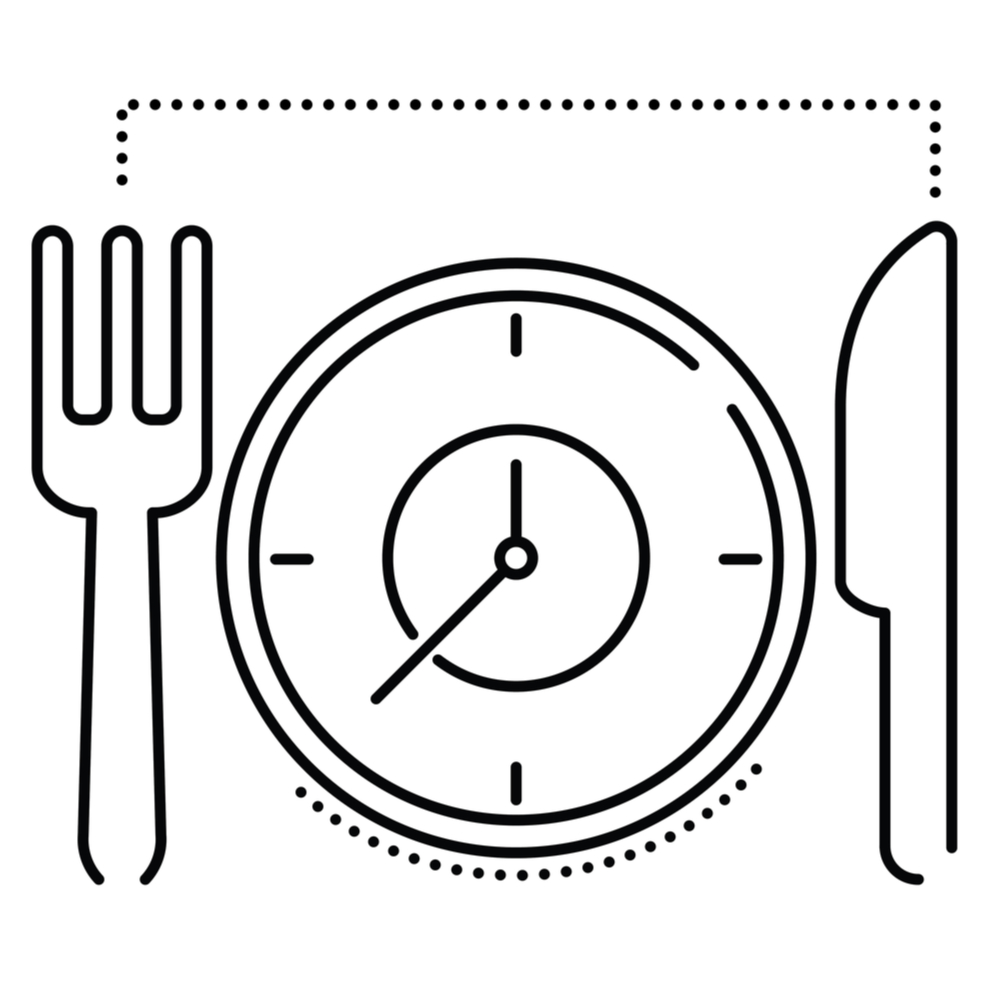 Illustration of a knife and fork set at a table where the plate is a clock demonstrating missed meal and rest breaks at work