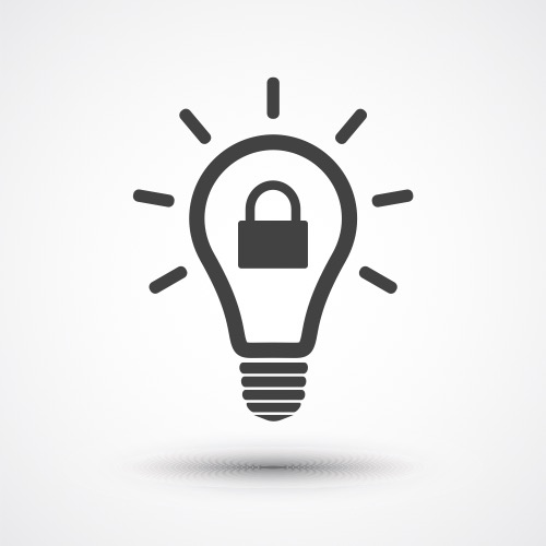 Illustration of a lightbulb with a padlock in the centre of it showing the concept of intellectual property rights and patents vs trade secrets