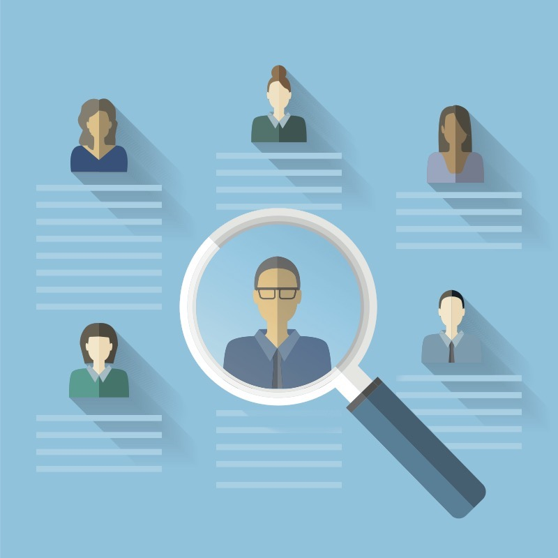 Illustration of six employees and their profiles with one employee under a microscope to demonstrate that HR collects data about employees.