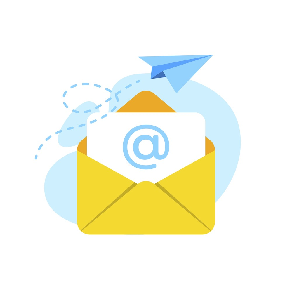 Illustration of yellow envelope with an at symbol on a piece of paper inside it and a paper plane being flown into the background, illustrating email marketing compliance